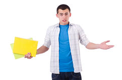 Funny student with books isolated Royalty Free Stock Image