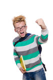 Funny student with books isolated Stock Image