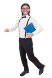 Funny student with books isolated Royalty Free Stock Photo