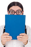 Funny student with books isolated Royalty Free Stock Photography