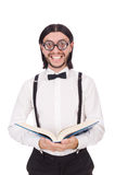 Funny student with books isolated Stock Photo