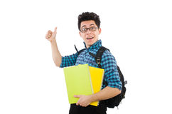 Funny student with books Royalty Free Stock Photo