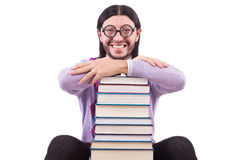 Funny student with books Stock Photography
