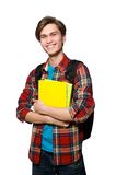 Funny student with books isolated on the white Stock Photo
