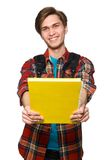 Funny student with books isolated on the white Stock Images