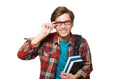 Funny student with books isolated on the white Stock Photography