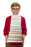 Funny student with books isolated on white Stock Photography