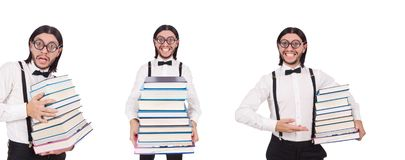 The funny student with books isolated on white. Funny student with books isolated on white royalty free stock images