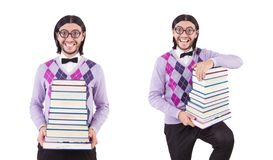 The funny student with books isolated on white. Funny student with books isolated on white stock photography