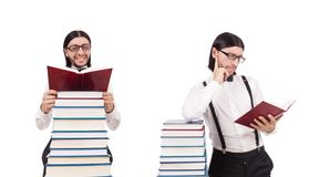 The funny student with books isolated on white. Funny student with books isolated on white stock image