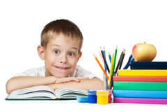 Funny student with books and pencils Stock Photos