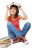 Funny student girl with books royalty free stock photo