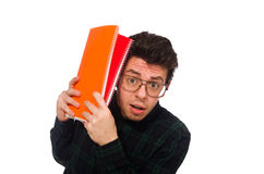 The funny student isolated on the white Stock Image