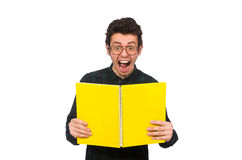 The funny student isolated on the white Stock Photo