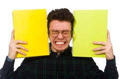The funny student isolated on the white Royalty Free Stock Image