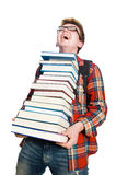 Funny student with lots Royalty Free Stock Image