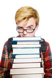 Funny student with lots Royalty Free Stock Images