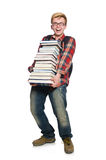 Funny student with lots Stock Photo