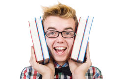 Funny student with stack Stock Images