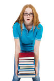 Funny student with stack Stock Image
