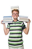 Funny student with stack Royalty Free Stock Photography