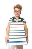 Funny student with stack Royalty Free Stock Photos
