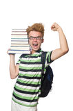 Funny student with stack Royalty Free Stock Photo