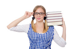 Funny student with stack Royalty Free Stock Image
