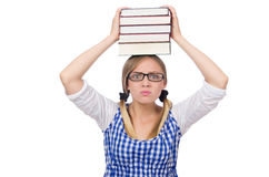 Funny student with stack Stock Photography