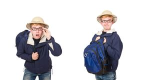 The funny student wearing safari hat. Funny student wearing safari hat royalty free stock photo