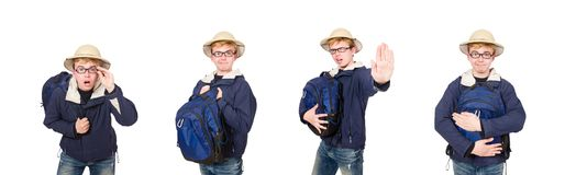 The funny student wearing safari hat. Funny student wearing safari hat royalty free stock images