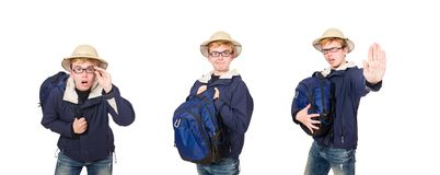 The funny student wearing safari hat. Funny student wearing safari hat royalty free stock photography