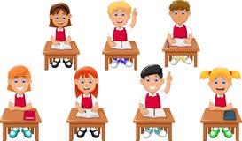 Funny students cartoon learning Stock Photo