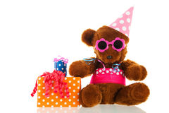 Funny stuffed bear with gifts Stock Images