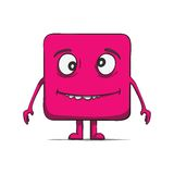 Funny stupid cube dude. Square character. Vector Royalty Free Stock Photo