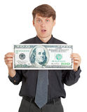 Funny stupid man holding a big money Stock Images