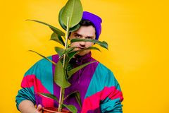 Funny style white man in 90s jacket and hat with ficus plant. On yellow background stock photo