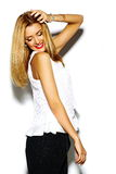 Funny stylish beautiful blond young woman model in hipster cloth Stock Photography