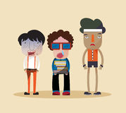 Funny stylish cartoon characters of a nerd, ugly jerk, and cheap. Looking bully young children standing together as group of friends in fashionable clothes Stock Photography