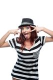 Funny stylish girl in black and white dress Royalty Free Stock Photos