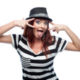Funny stylish girl in black and white dress Royalty Free Stock Photography