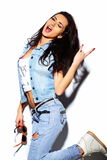 Funny stylish model girl in casual hipster cloth Royalty Free Stock Photo