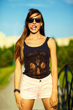 Funny stylish model girl in casual hipster cloth in the street Stock Photo