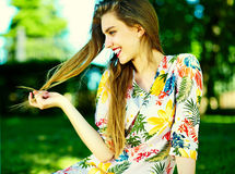 Funny stylish model girl in casual hipster cloth in the street Royalty Free Stock Photography