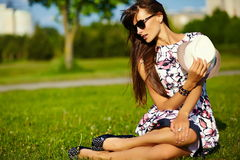 Funny stylish model girl in casual hipster cloth in the street Royalty Free Stock Images