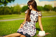 Funny stylish model girl in casual hipster cloth in the street Stock Photography