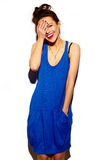 Funny stylish model girl in casual modern hipster cloth Royalty Free Stock Photography