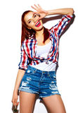 Funny stylish model girl in casual modern hipster cloth Stock Photos