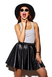 Funny stylish model girl in summer hipster cloth Royalty Free Stock Image