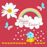 Funny stylized chicken in a blue hat in shape of cosmos flower and small newborn chicks in the rain of hearts on red background. Happy Easter greeting card stock illustration